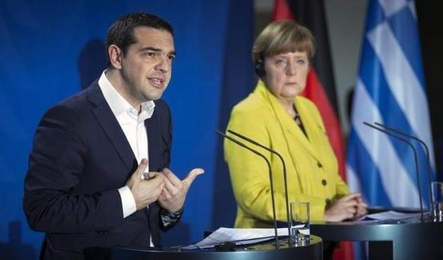 German Chancellor Merkel and Greek Prime Minister Tsipras address news conference in Berlin