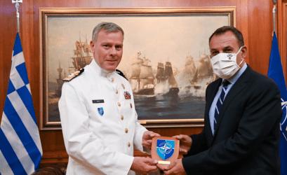 Συνάντηση Νίκου Παναγιωτόπουλου με τον Πρόεδρο της Στρατιωτικής Επιτροπής του ΝΑΤΟ Ναύαρχο Ρόμπερτ Μπάουερ
